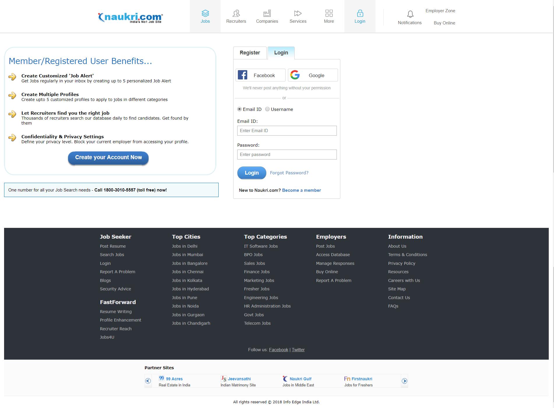 Naukri.com Login Page