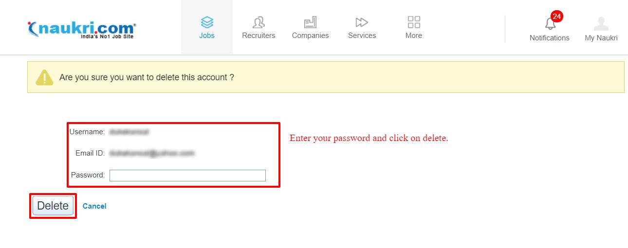 Naukri Profile Delete Page
