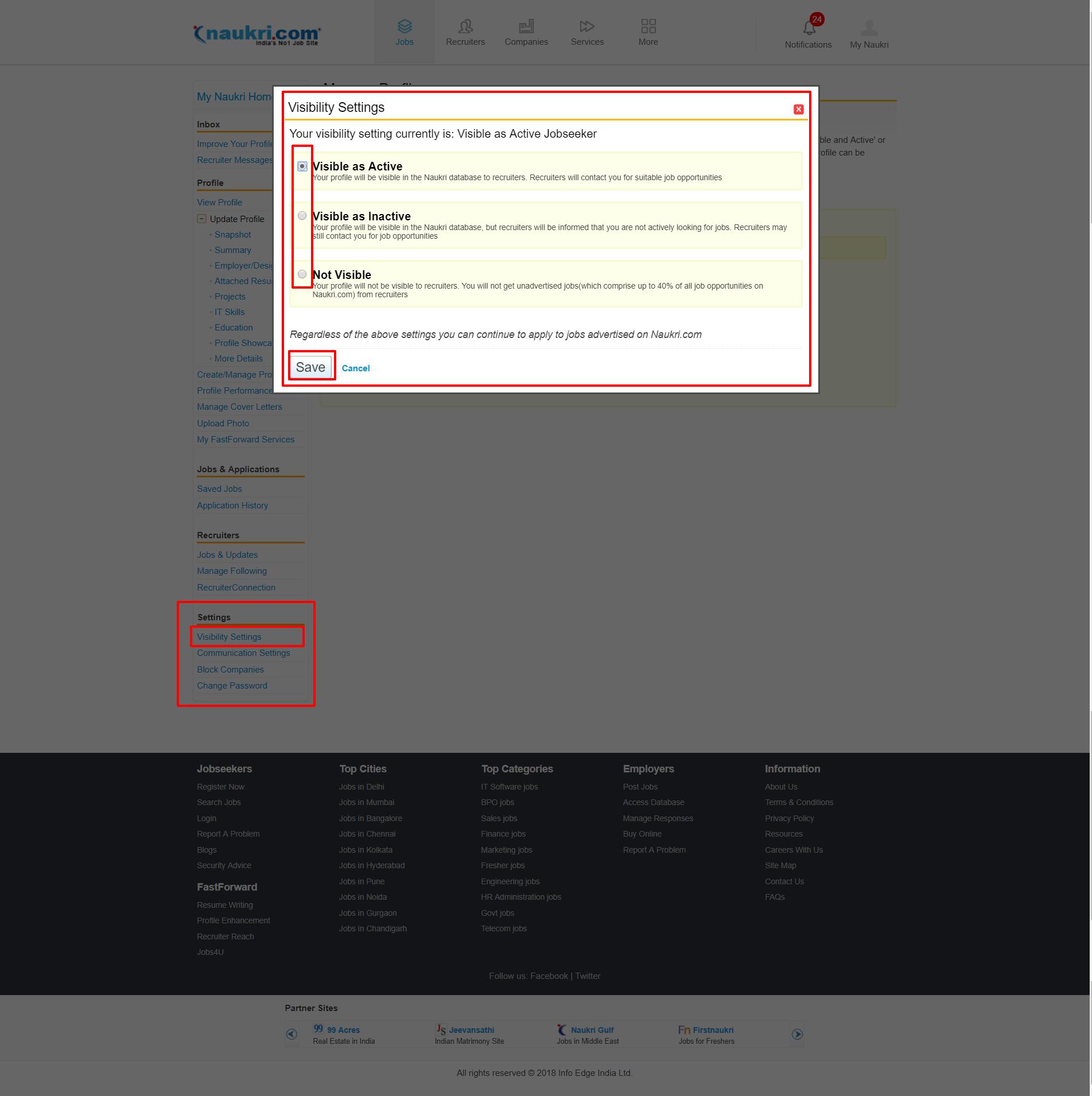 Naukri Profile Manager visibility settings Page