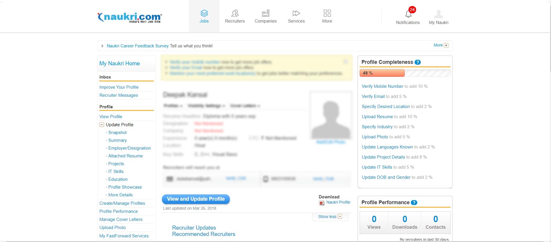 Naukri Profile Page
