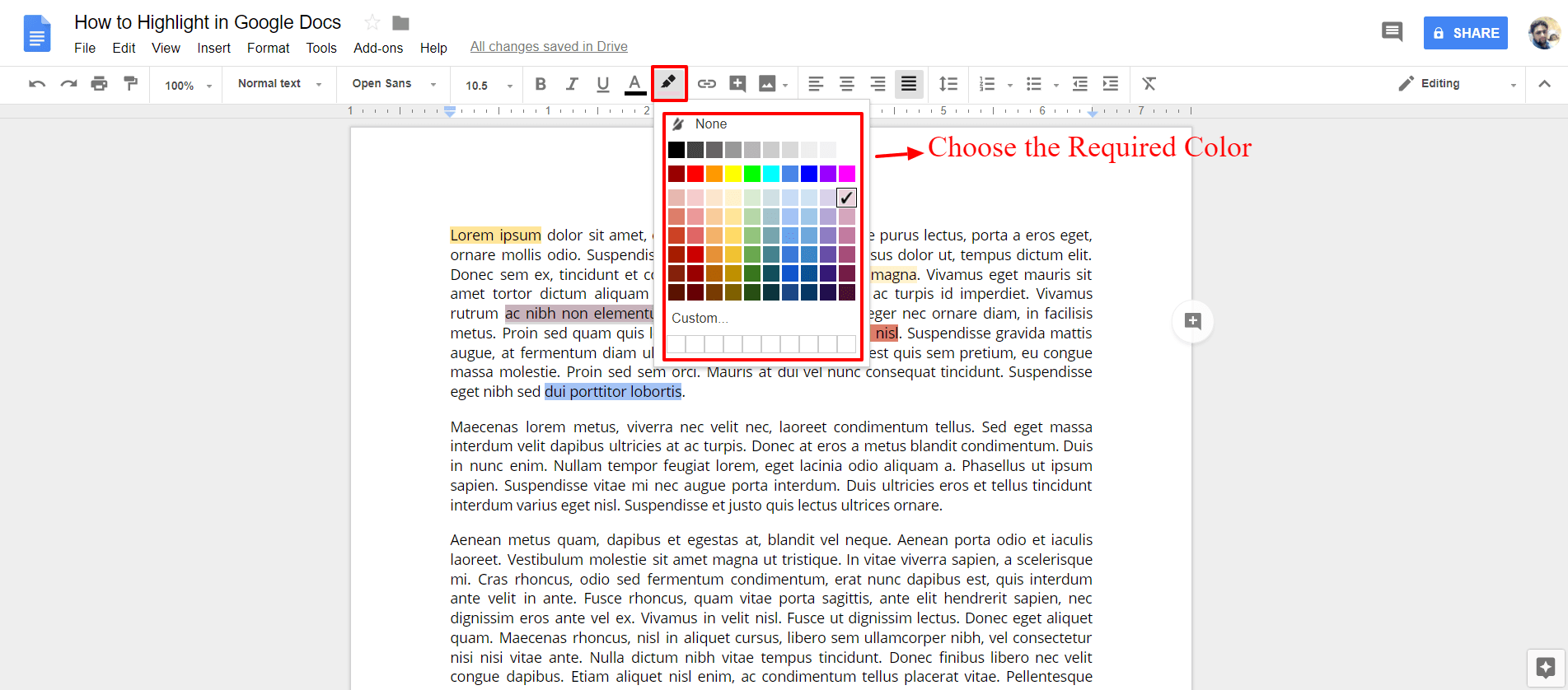 Choose the required Color - Google Docs