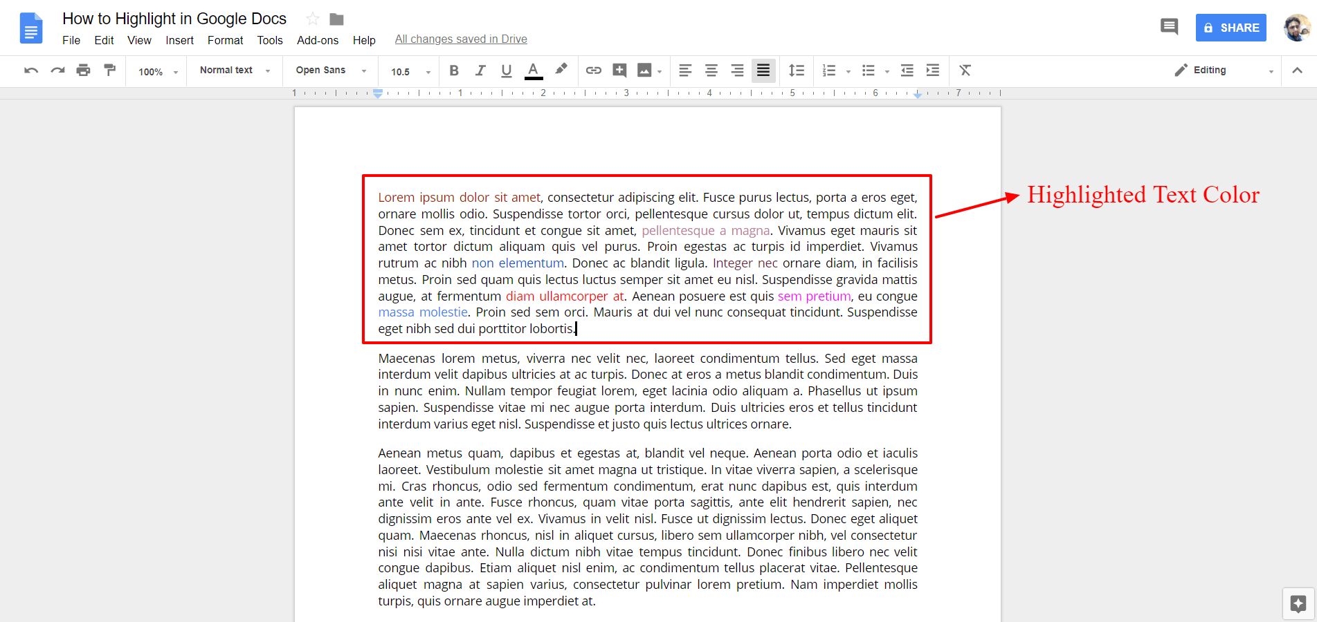 Highlighted Text Color - Google Docs