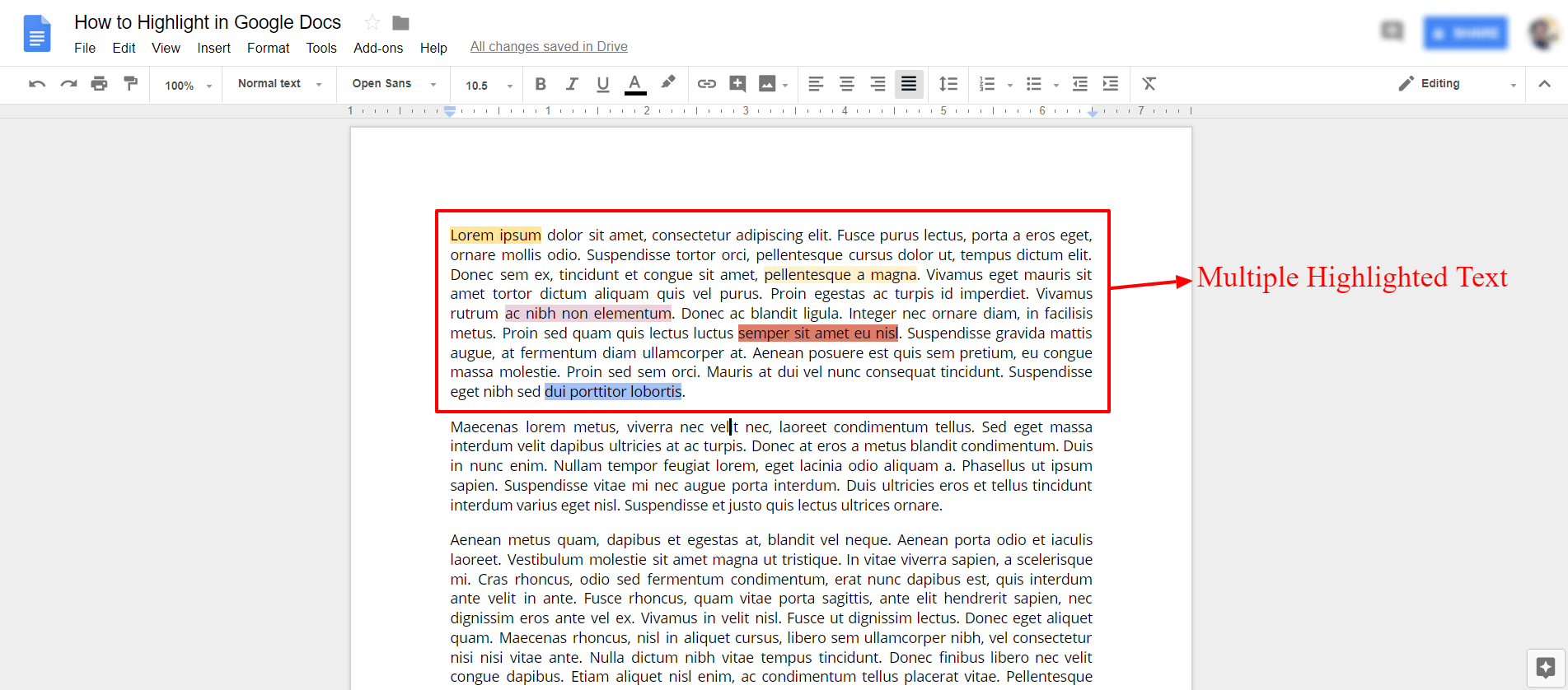Multiple highlighted text in google docs
