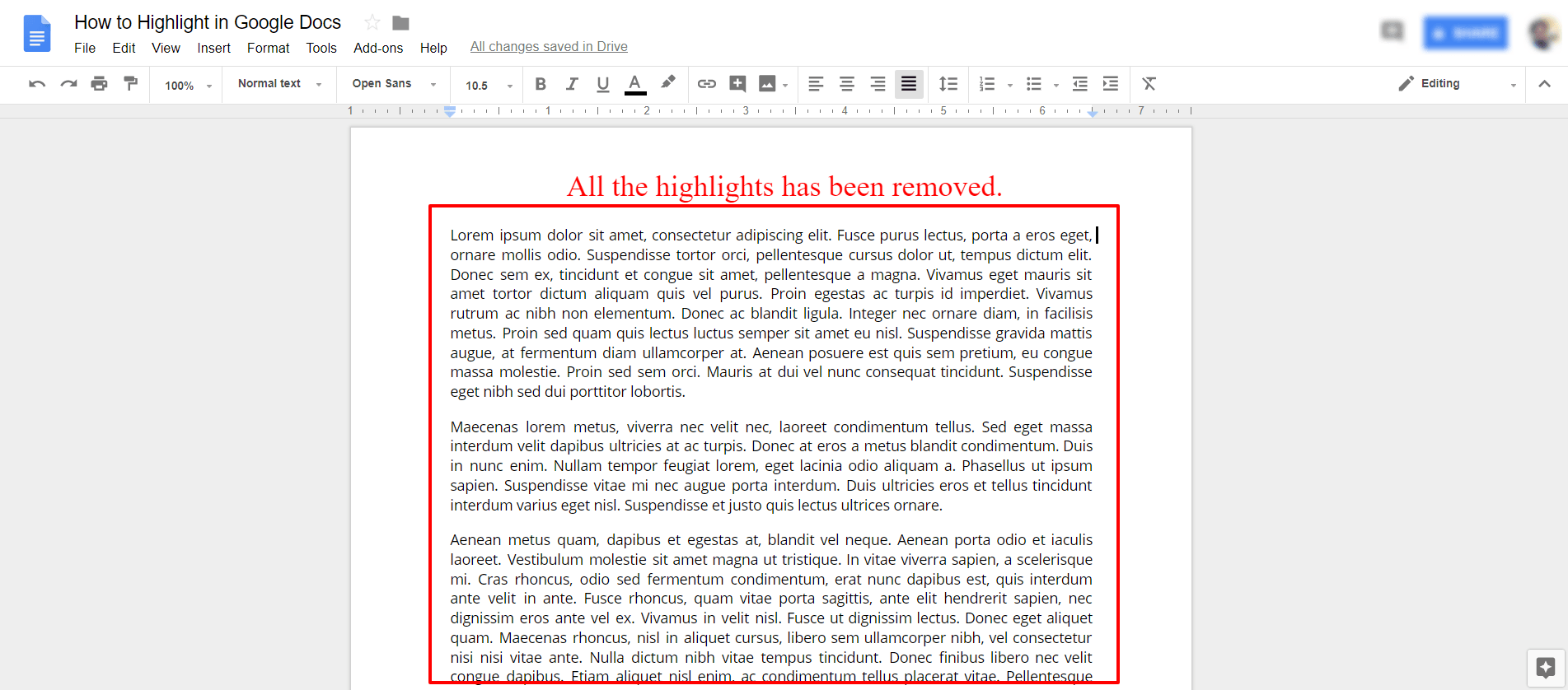 Removed Highlights - Google Docs