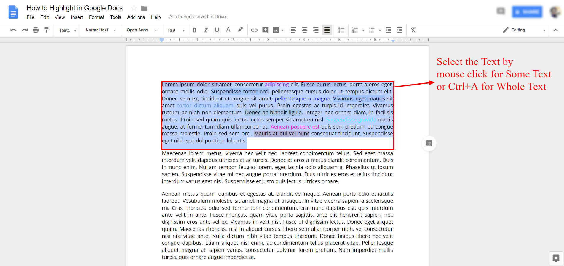 Select Some Text To Remove Highlights - Google Docs