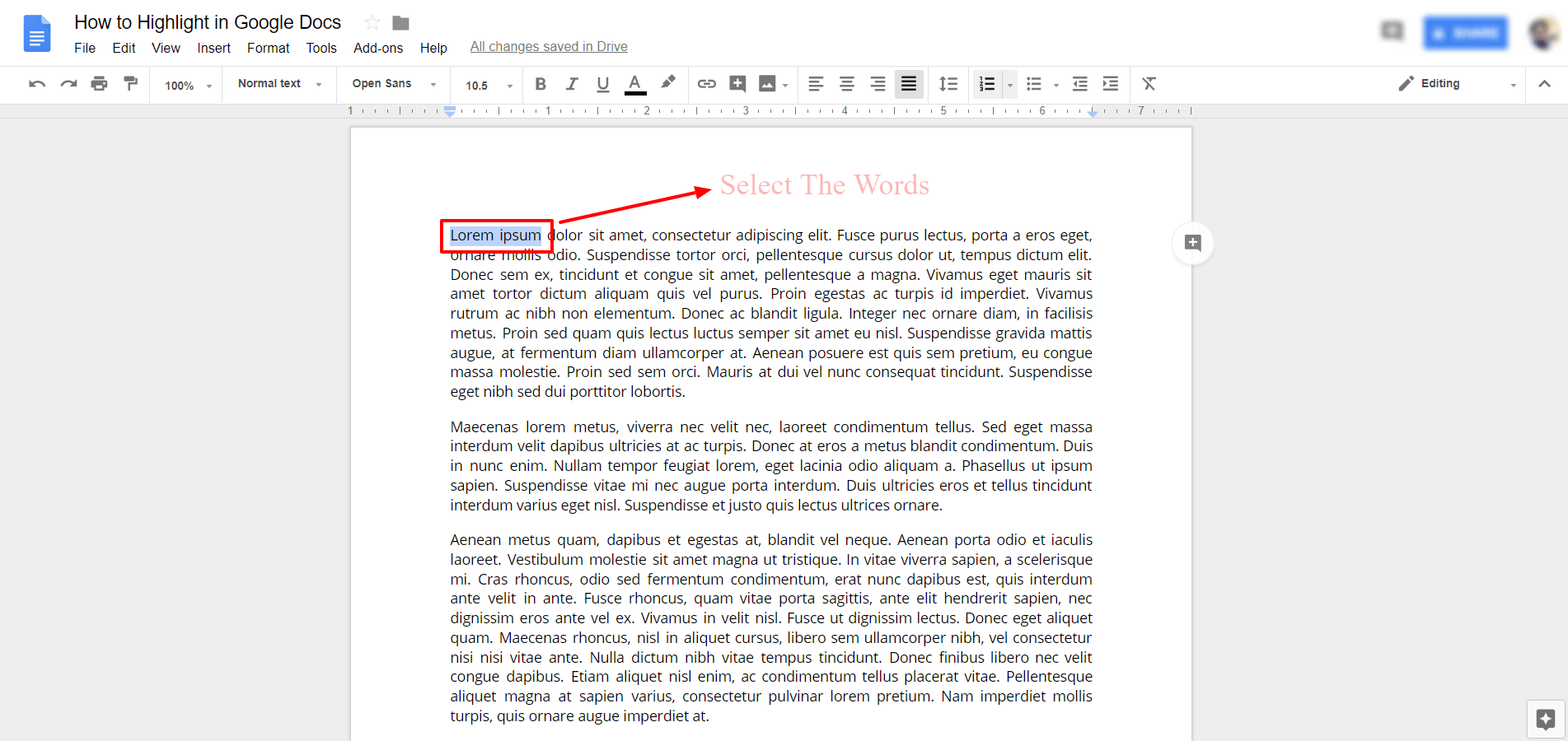 Select The Words in Google Docs