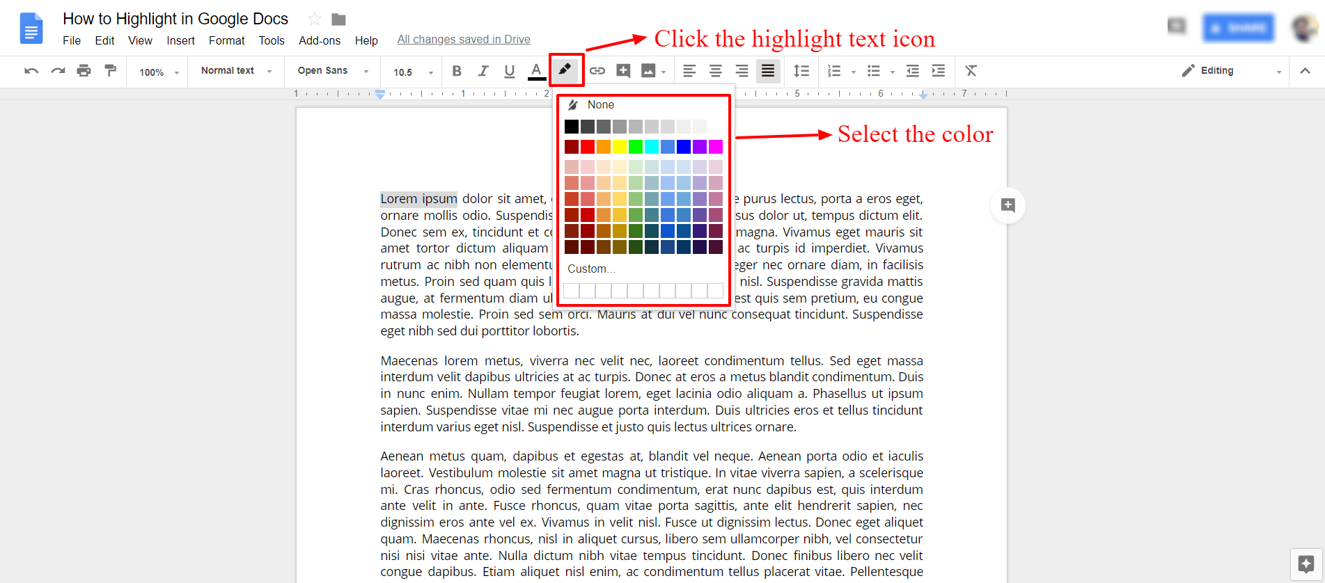 Select the highlight color in google docs