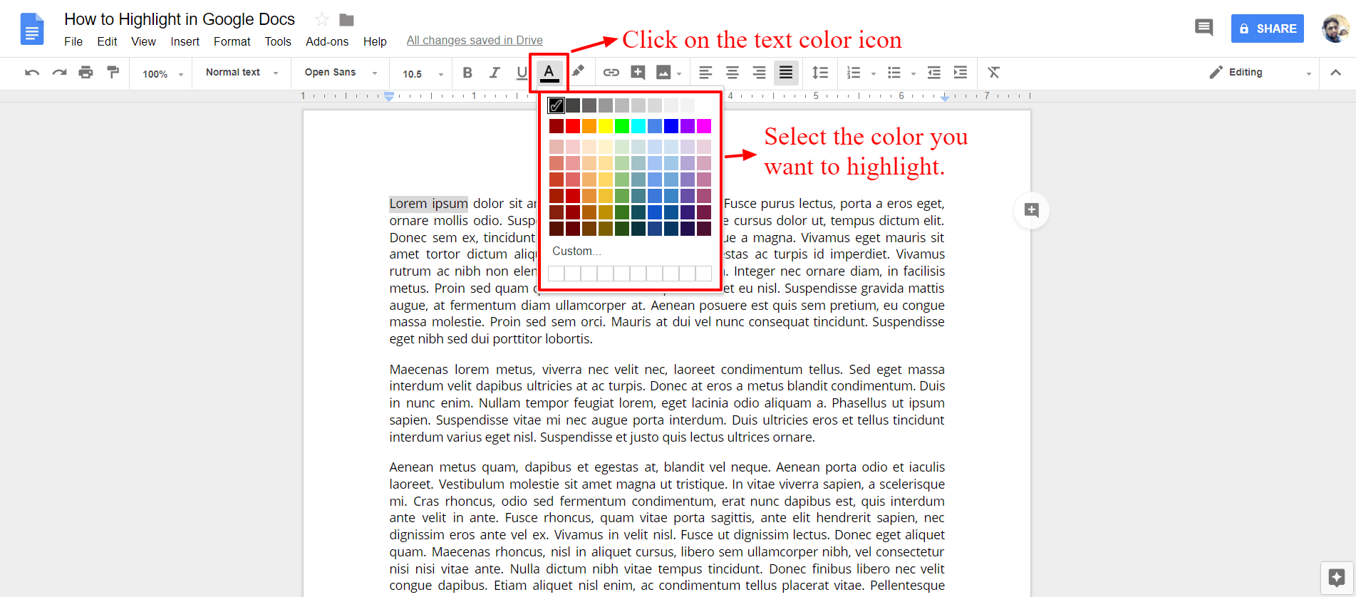 Select the text color - Google Docs