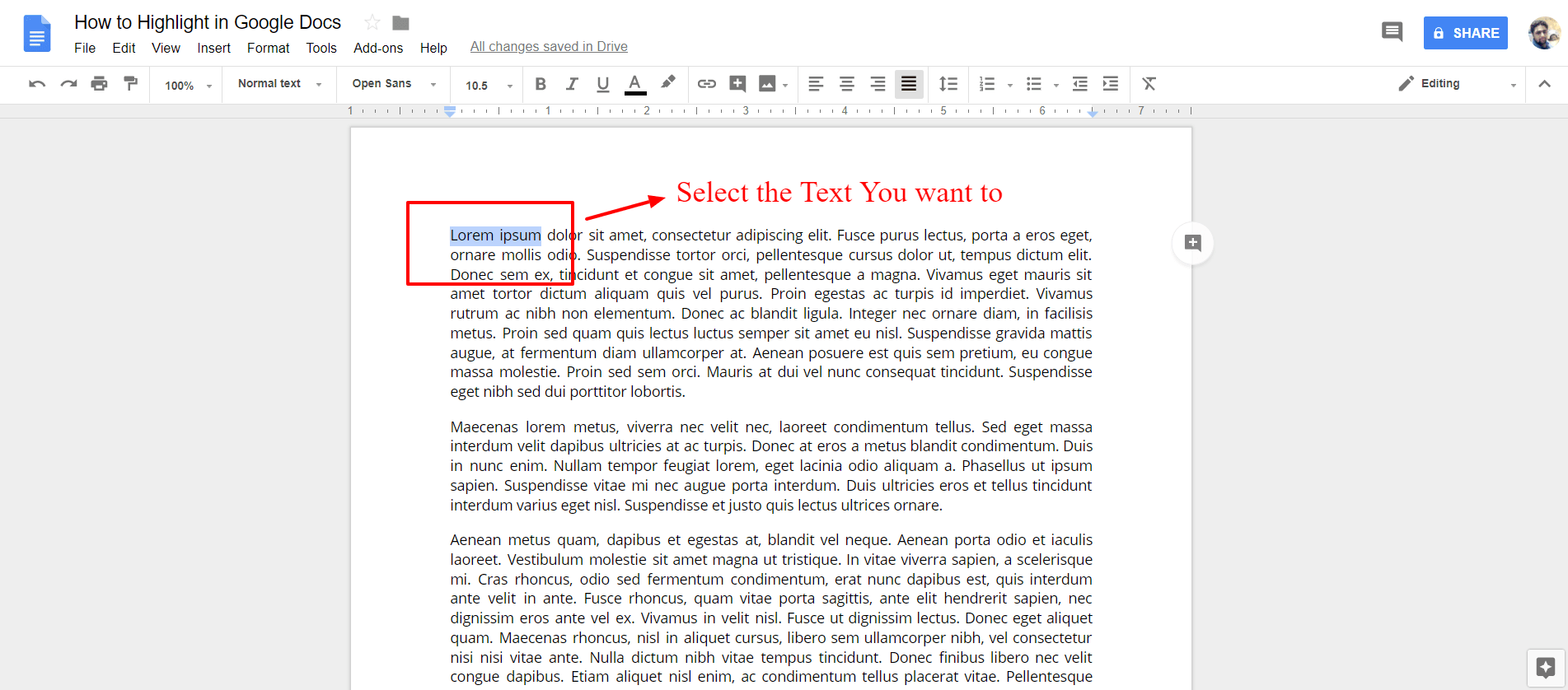 Select the text you want to highlight - Google Docs